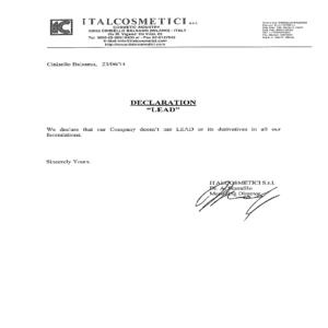 Документ, подтверждающий, что косметика не содержит свинец